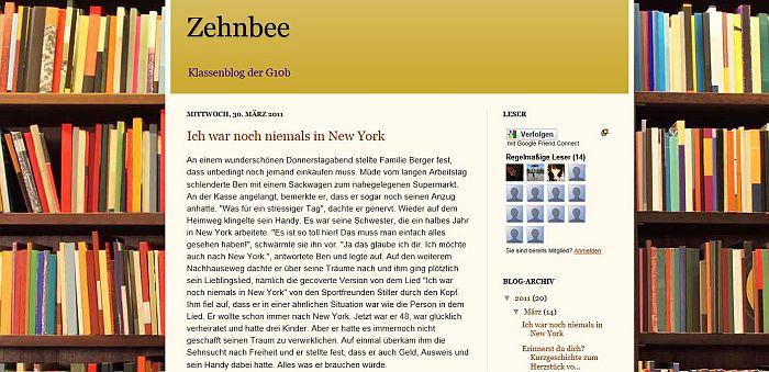 Screenshot vom Klassenblog der 10b