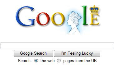 Google logo with Her Majesty's Head